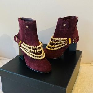 CHANEL**Burgundy Necklace Boots*US 6.5 $1675